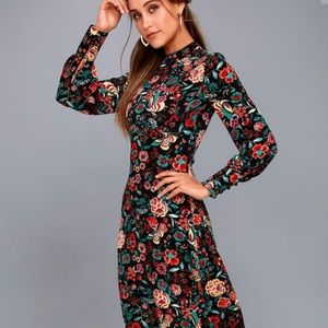 Lulu's Retro Ready Black Floral Print Midi Dress